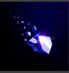 Falling beauty stone sapphire space debris blue vector