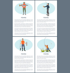 Fishing posters sport hobby vector
