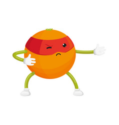 Flat orange ninja character in mask vector