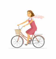 girl on bicycle - modern colorful cartoon vector image