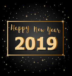 golden happy new year 2019 with dark background vector image