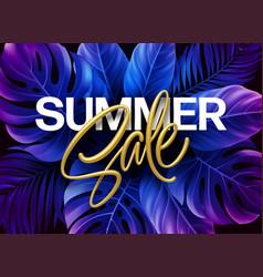 golden metallic summer sale lettering on a purple vector image