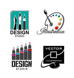 Graphic designer or design studio icons vector