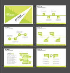 Green presentation templates Infographic set vector