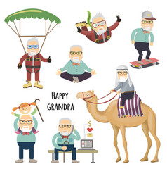 Happy grandpa after retirement vector