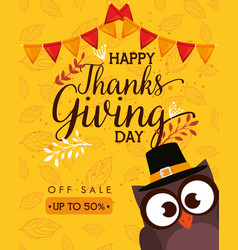 happy thanks giving card with owl vector image