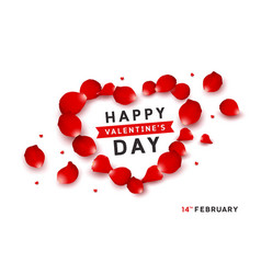 happy valentines red petals design isolated vector image