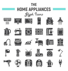 home appliances solid icon set technology symbols vector image vector image
