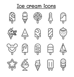 ice cream icon set in thin line style vector image