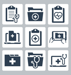 icon set patient medical record vector image