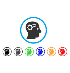 Intellect gears rounded icon vector