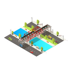Isometric colorful railway transportation concept vector