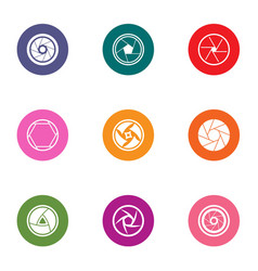 lens icons set flat style vector image