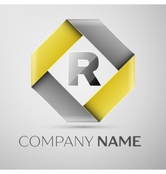 Letter R logo symbol in the colorful rhombus vector