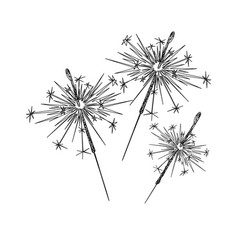 Line art sparklers on a white background vector