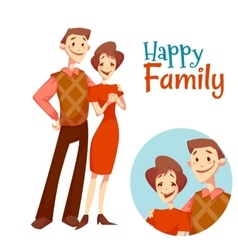 Man and woman standing Happy family vector image