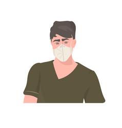 man wearing medical mask to prevent coronavirus vector image