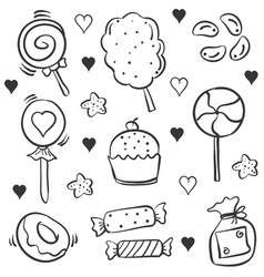 Many various candy hand draw doodles vector