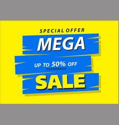 mega sale poster banner 50 big sale clearance vector image