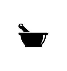 Mortar and pestle pharmacy flat icon vector