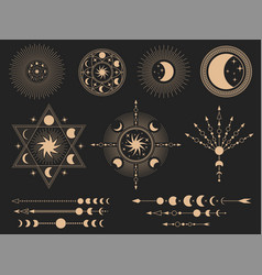 mystic magic symbols set vector image