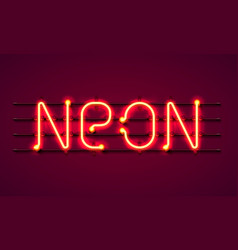 neon text signboard on red background vector image