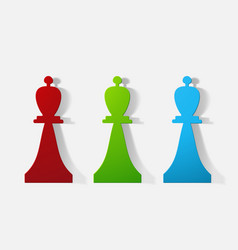 Paper clipped sticker chess piece bishop vector