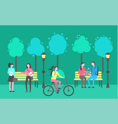 park activities people sitting chatting outdoors vector image