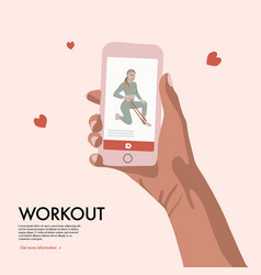 people with smartphone training home workout flat vector image