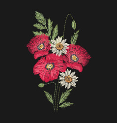 Poppy and camomile flowers embroidered with red vector