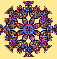 Psychadelic mandala over yellow background vector