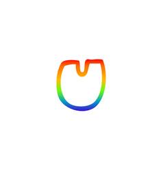 Rainbow gradient line drawing cartoon letter u vector