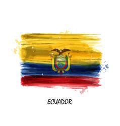 Realistic watercolor painting flag of ecuador vector
