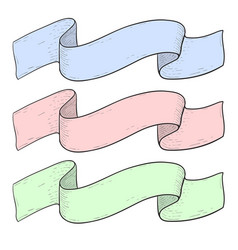 ribbon banners colored hand sketch vector image