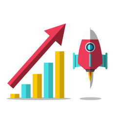 rocket launch with arrow and success graph vector image