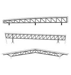 Roofing building steel frame detail roof truss vector