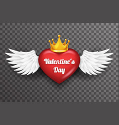 royal crown valentine day heart white bird angel vector image