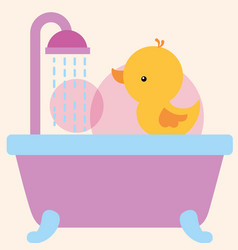 Rubber duck toy on bathtub shower water bathroom vector