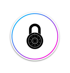safe combination lock wheel icon isolated on white vector image