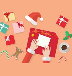 santa hands give wrapped christmas present in vector image