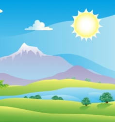 scenic summer landscape vector illustration vector image