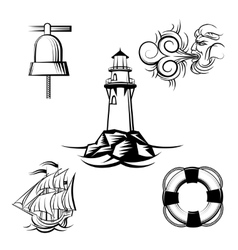 Sea design elements vector image