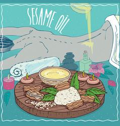 Sesame oil used for body massage vector