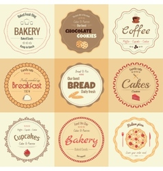 set 9 circle bakery labels vector image