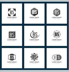 set of letter logo initial bs logo template design vector image