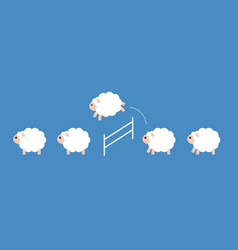 Sheep crowd jumping over a fence flat design vector