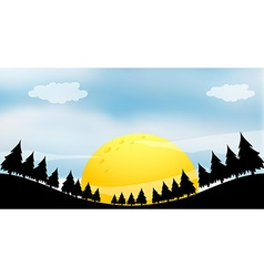 Silhouette of a full moon with trees vector