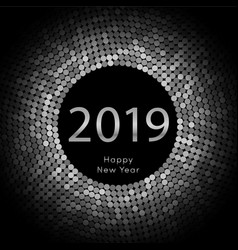 silver discoball new year 2019 greeting poster vector image