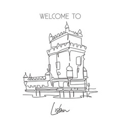 Single continuous line drawing belem tower vector