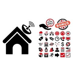 Space Antenna Building Flat Icon with Bonus vector image
